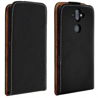 Vertikales Klappetui für Nokia 9, Nokia 8 Sirocco, mit Kartenfach - Schwarz