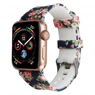 Apple Watch 42 / 44mm Armbanduhr, Silikon Armband mit Blumen ? Dunkelblau/ Rosa