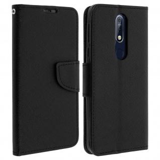 Fancy Style Flip-Cover für Nokia 7.1, Kartenfach und Standfunktion - Schwarz