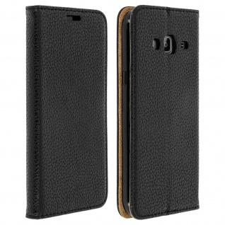 Samsung Galaxy J3 Flip Cover Kartenfach mit Magnetverschluss - Schwarz