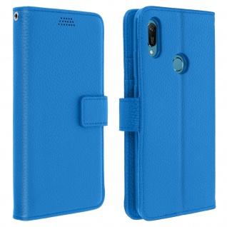 Huawei Y6 2019 Flip-Cover mit Kartenfächern & Standfunktion ? Blau
