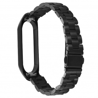 Xiaomi Mi Band 6 / 5 Stahl Armband mit Faltschließe - Schwarz