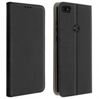 Wallet Cover für Motorola Moto E6 Play, Kartenfach und Ständer ? Schwarz