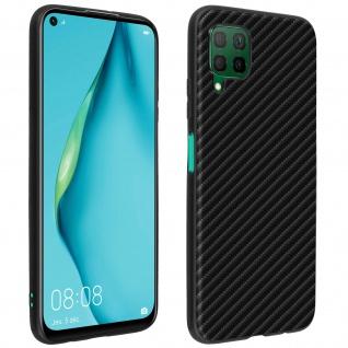 Huawei P40 Lite stoßfeste Schutzhülle Silikon im Carbon Look ? Schwarz