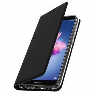 Flip Cover für Huawei P Smart mit Kartenfach & Standfunktion - Schwarz