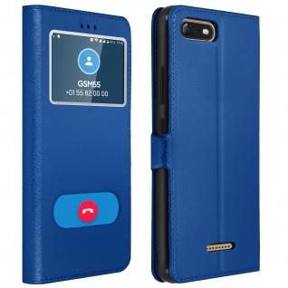 Flip Cover Doppelfenster & Standfunktion für Wiko Tommy 3, Gelhülle - Blau