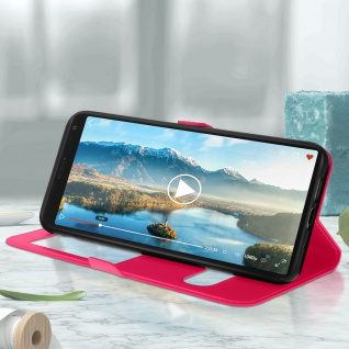 Sony Xperia 1 Flip Cover Doppelfenster & Standfunktion - Rosa - Vorschau 3