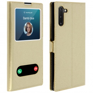 Samsung Galaxy Note 10 Flip Cover Doppelfenster & Standfunktion � Gold