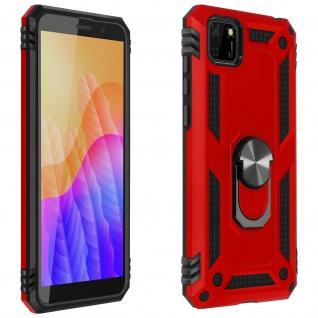 Hybrid Handyhülle mit Ring Halterung für Huawei Y5p - Rot