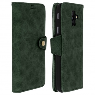 Retrohülle, Flip wallet Cover mit Standfunktion Samsung Galaxy A6 Plus - Grün