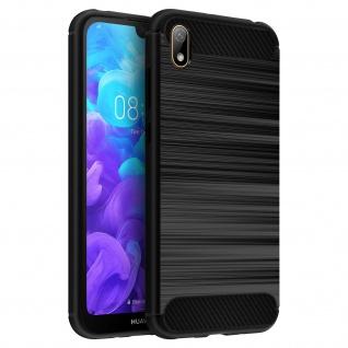 Huawei Y5 2019 Silikon Schutzhülle mit Carbon/Aluminium Look - Schwarz