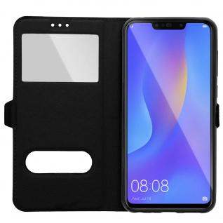 Huawei P Smart Plus Flip Cover mit Doppelfenster & Standfunktion - Schwarz - Vorschau 4