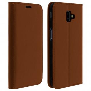Business Leder Cover, Schutzhülle mit Geldbörse für Galaxy J6 Plus - Hellbraun