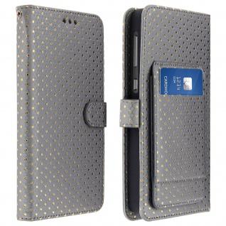Universal Bookcover für Smartphones Größe 3XL Standfunktion + Spiegel â€? Silber