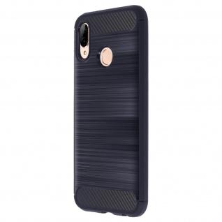 Huawei P20 Lite Silikonhülle mit Carbon und Aluminium-Look - Dunkelblau