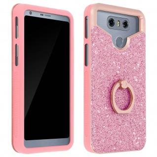 Glitter Handyhülle mit Ring Halterung für 4.5 - 4.7 Zoll Smartphones - Rosa