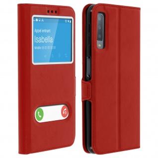 Flip Cover Doppelfenster & Standfunktion, Klappetui für Galaxy A7 2018 - Rot