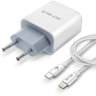 USB-C Wand-Ladegerät mit 3A/18W Power Delivery Funktion 1m Lightning Kabel weiß