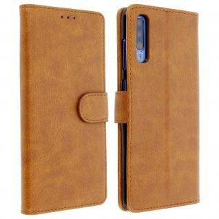 Flip Cover Geldbörse, Klappetui Kunstleder für Samsung Galaxy A70 - Braun