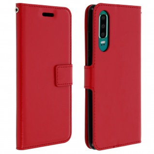 Flip Stand Cover Brieftasche & Standfunktion für Huawei P30 - Rot