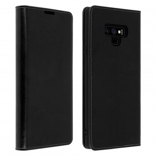 Business Leder Cover, Schutzhülle mit Geldbörse für Galaxy Note 9 - Schwarz