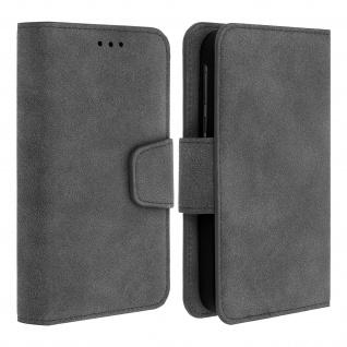 """Universal Klapphülle, Etui mit Geldbörse für 5"""" Smartphones, Größe L - Grau"""