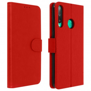 Flip Cover Geldbörse, Klappetui Kunstleder für Huawei P40 Lite E ? Rot
