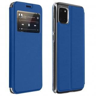 Samsung Galaxy Note 10 Lite Kunstlederetui mit Sichtfenster & Kartenfach � Blau