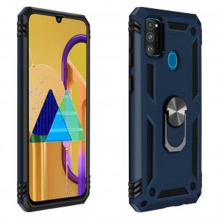 Hybrid Handyhülle mit Ring Halterung für Samsung Galaxy M30s ? Dunkelblau