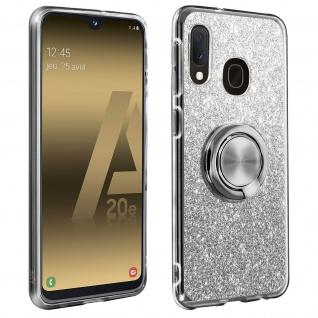 Glitter Silikonhülle mit Ring Halterung für Samsung Galaxy A20e - Silber