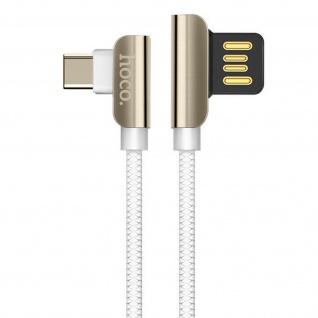 USB-C 2.4A Kabel mit abgewinkeltem Stecker, 1, 2m Exquisite Steel Hoco ? Weiß - Vorschau 2