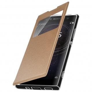 Sony Xperia XA2 Flip Cover Sichtfenster & Kartenfach Gold - Standfunktion - Vorschau 2