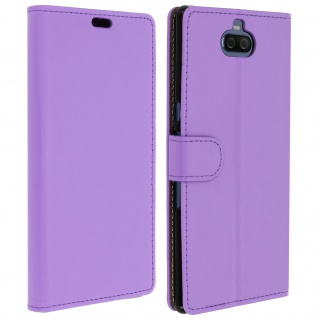 Soft Touch Flip-Cover Geldbörse mit Standfunktion für Xperia 10 Plus - Violett