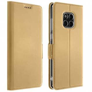 Flip Cover, Klappetui mit Kartenfach & Standfunktion Huawei Mate 20 Pro Gold
