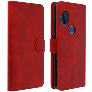 Soft Touch Flip-Cover Geldbörse mit Standfunktion für Motorola One Hyper - Rot