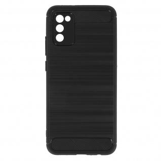 Samsung Galaxy A02s Schutzhülle mit Aluminium und Carbon Design ? Schwarz