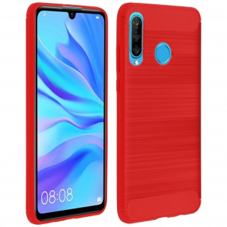 Huawei P30 Lite Silikon Schutzhülle mit Carbon/Aluminium Look - Rot