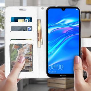 Flip Stand Cover Brieftasche & Standfunktion für Huawei Y7 2019 - Weiß - Vorschau 3