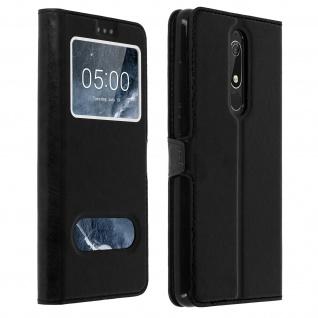 Nokia 5.1 Flip Cover mit Doppelfenster & Standfunktion - Schwarz