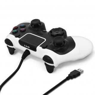 PS4 / PC Controller, mit 2 Vibrationsmotoren, USB verkabelt, LinQ - Schwarz