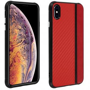 Hybrid Hülle, stoßfeste Schutzhülle Lederoptik für Apple iPhone XS, X - Rot