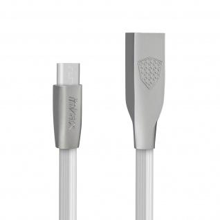 Inkax Twisted USB / Micro-USB Smartphones/Tablets flaches Ladekabel 1M ? Weiß - Vorschau 2