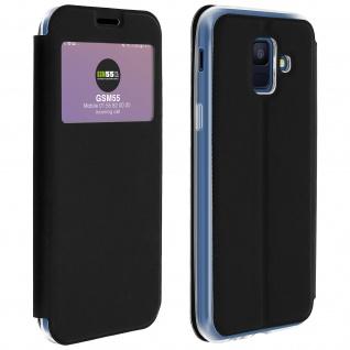 Samsung Galaxy A6 Flip Cover Sichtfenster & Kartenfach Schwarz - Standfunktion