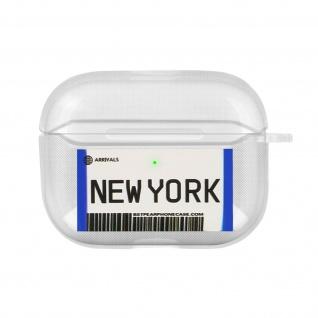 Weiche Silikonhülle für AirPods Pro, New York Fahrkarte Design - Weiß