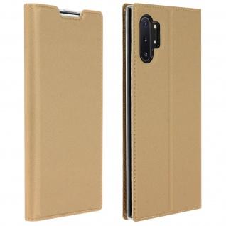Flip Cover, Klappetui mit Kartenfach & Standfunktion Galaxy Note 10 Plus Gold