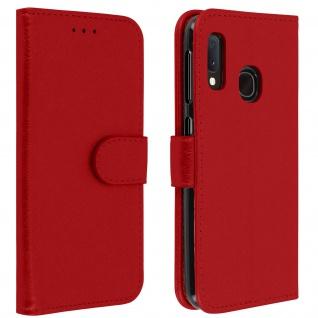 Flip Cover Geldbörse, Klappetui Kunstleder für Samsung Galaxy A20e - Rot