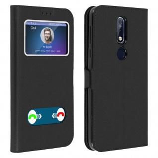 Nokia 7.1 Flip Cover Doppelfenster & Standfunktion - Schwarz