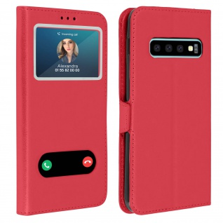 Samsung Galaxy S10 Flip Cover Doppelfenster & Standfunktion - Rot