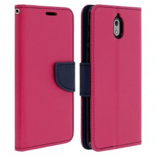 Fancy Style Cover für Nokia 3.1, Kartenfach & Standfunktion - Rosa