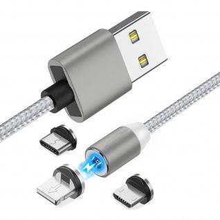 Magnetisches Kabel USB zu Lightning/USB-C/Micro-USB Laden - Silber - Vorschau 2